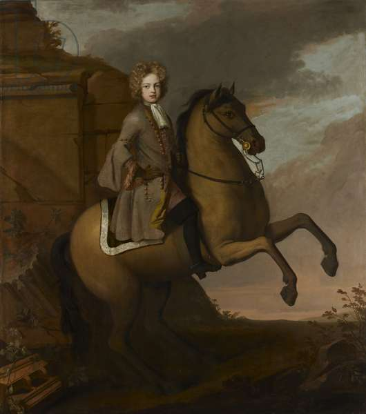 Portrait of a young boy on horseback, c.1680s-90s (oil on canvas)