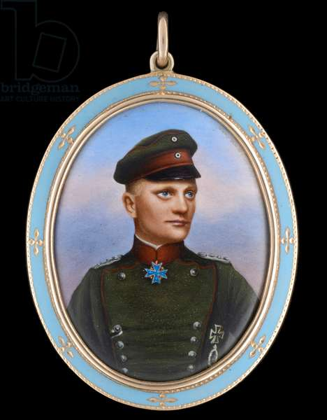 Portrait enamel of Rittmeister Manfred Albrecht, Freiherr von Richthofen, 'The Red Baron', 1917 (enamel)