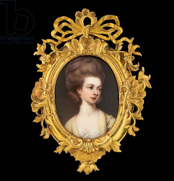 Portrait enamel of Mrs Mary Manners-Sutton, wearing yellow dress with white lace underdress, her light brown hair curled and worn upswept (enamel on copper)