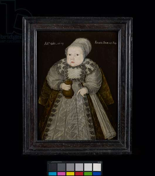 Portrait of a Baby aged fifteen weeks, holding a Wooden Feeding Bottle, 1593 (oil on panel)