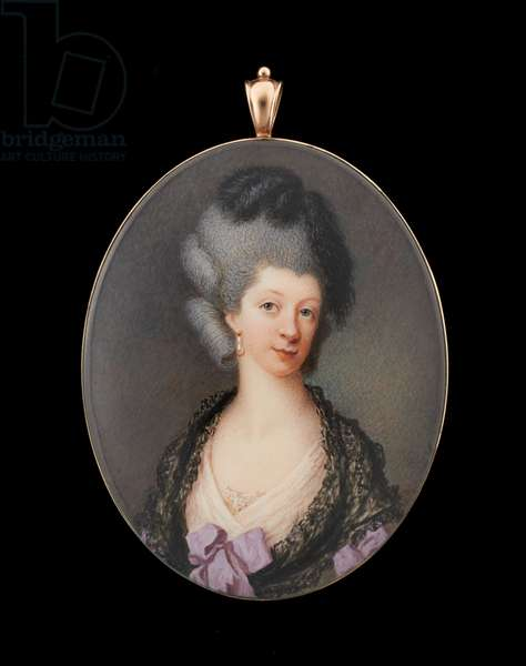Portrait miniature of a Lady wearing pale pink dress and black lace shawl, feathers in her powdered hair (w/c on ivory)