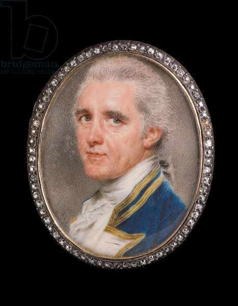 Portait miniature of a naval Captain in gold-bordered naval uniform with white facings and cravat, powdered hair en queue (w/c on ivory)