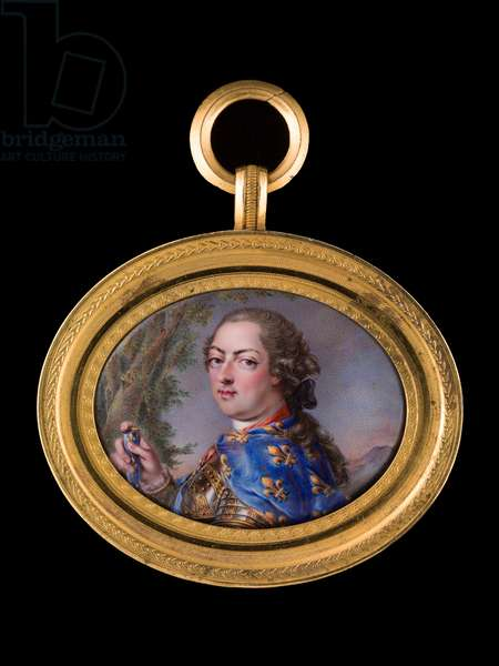Louis XV in gilt-bordered armour, wearing a blue cloak decorated with gold fleur-de-lys (enamel on gold)