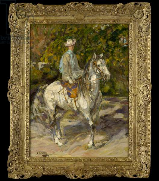 Hazel Trudeau (later Lady Lavery) mounted side-saddle upon Lily-Beau, Tangier, c.1904-06 (oil on canvas)