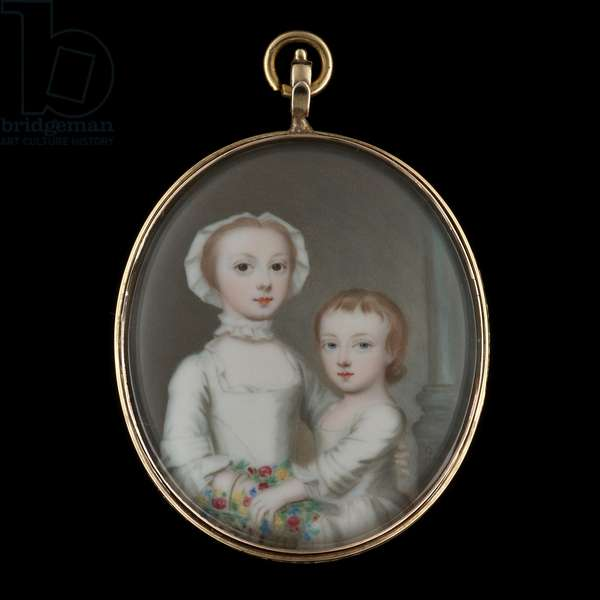 Portrait enamel of a Young Girl with her younger sibling, wearing white dresses, standing in front of a column, holding a basket of flowers, 1752 (enamel)