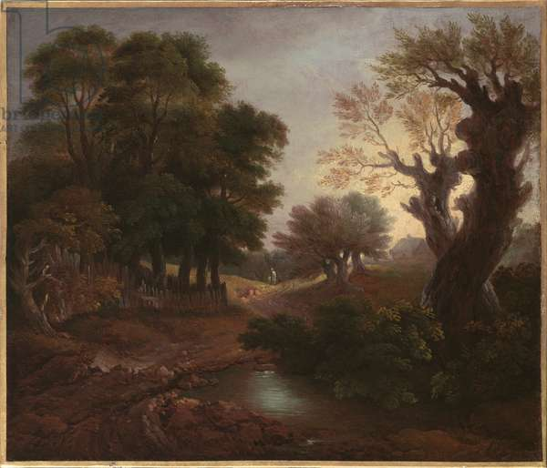 Wooded Landscape with Drover and Cattle and Milkmaids, c.1772 (oil on canvas)