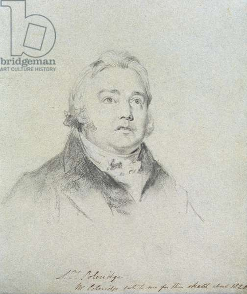 Portrait study of Samuel Taylor Coleridge (1772-1834) 1818 (pencil, charcoal & chalk on blue/grey paper)