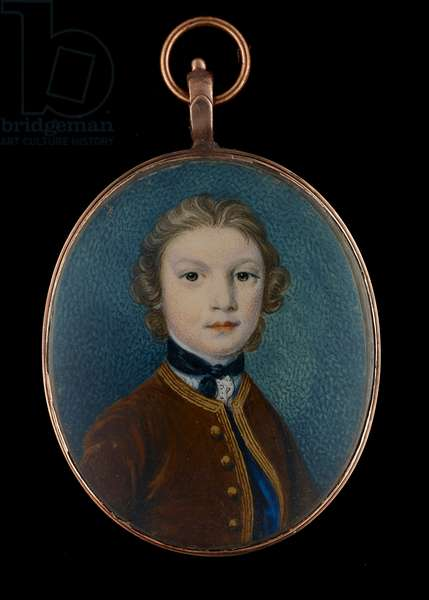 Portrait miniature of a Young Boy, thought to be John Crewe, later 1st Baron Crewe, of Crewe Hall, Cheshire (w/c on ivory with touches of gold)
