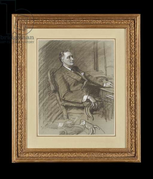 President Franklin D. Roosevelt Study, 1935 (charcoal & white chalk on paper)