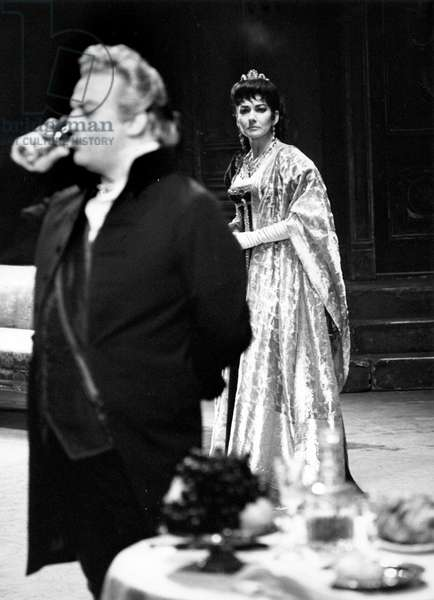Maria Callas and Tito Gobbi in Tosca, opera in three acts by Giacomo Puccini