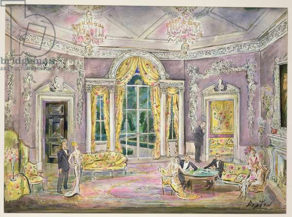 Set design for 'Lady Windermere's Fan' (pen & ink and w/c on paper)