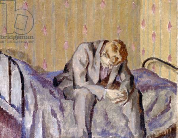 Seated man on a bed (oil canvas)