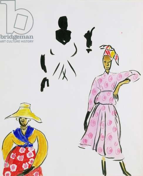 Three costume designs for 'Martinique' opera, 1934 (w/c & gouache on paper)
