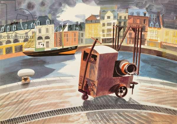 Dieppe Harbour, 1950 (gouache on paper)