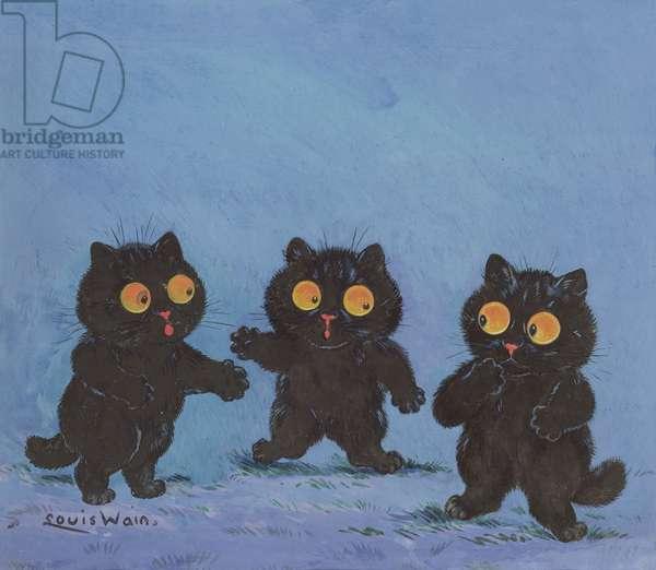 Three Black Kittens (gouache on paper)