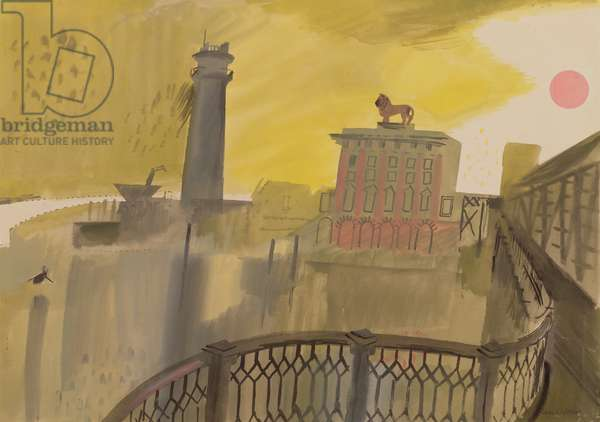 Watney Lion and Shot Tower, 1948 (gouache on paper)