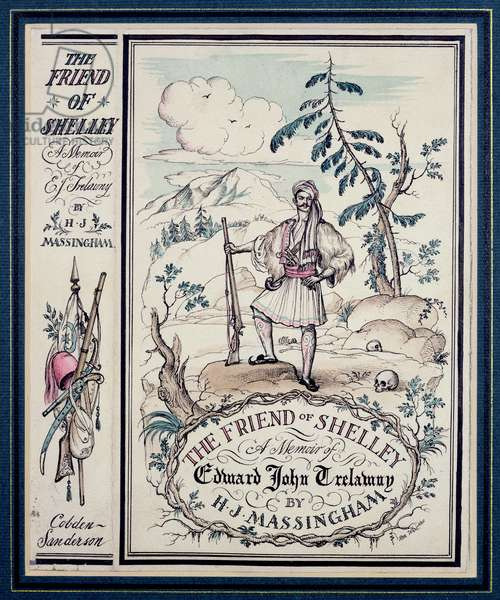 Book cover for 'The Friend of Shelley' by H.J. Massingham, London, 1930 (pen & ink with w/c on paper)