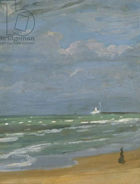 The artist's mother walking down the beach at Sandown, Isle of Wight, 1900 (oil on board)