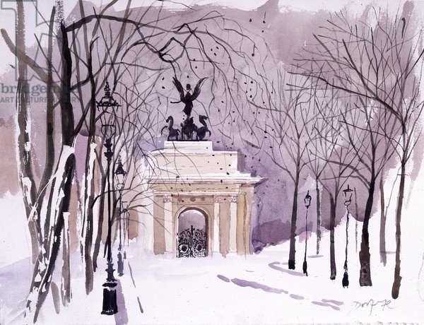 The Wellington Arch, Hyde Park Corner (w/c on paper)