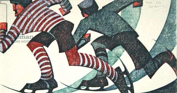 Skaters, 1953 (linocut)