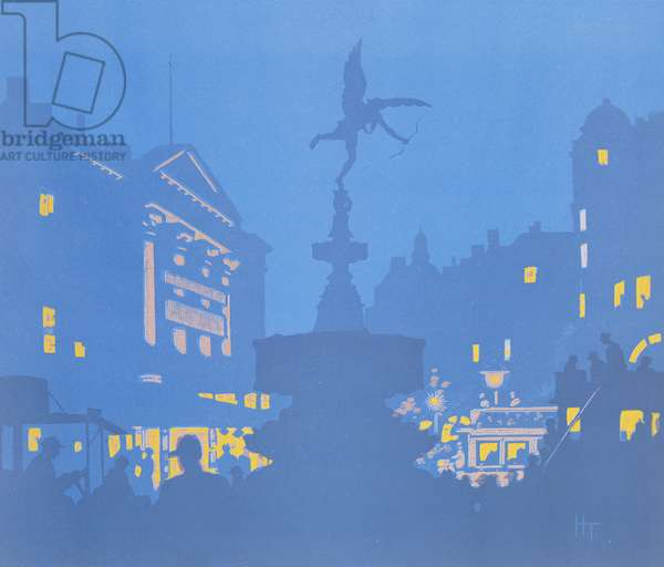 Piccadilly Circus (colour woodcut)