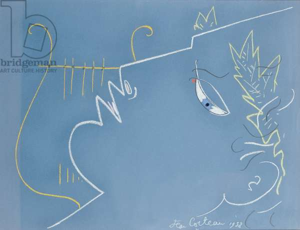 Boy and Lyre, 1958 (coloured chalk on blue paper)