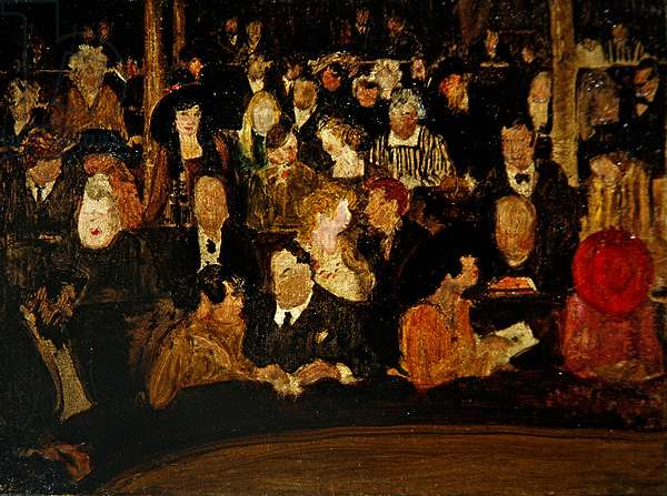 In a Theatre (oil on canvas)