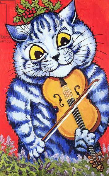 Cat on the Fiddle (gouache on paper)