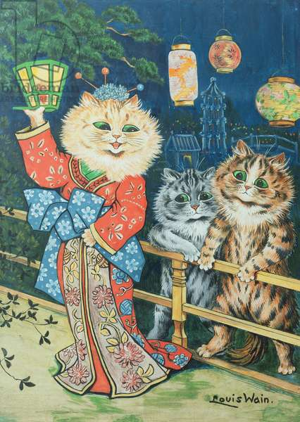 Cats in Japan (w/c & gouache on paper)
