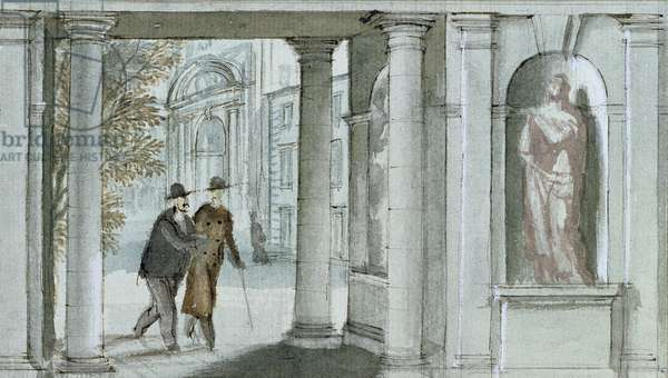 Detail of the design for the Dining Room Mural, Plas Newydd, c.1937 (pen & ink with wash on paper)