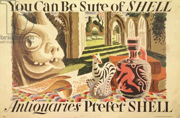 'Antiquaries prefer Shell', 1934 (colour litho)
