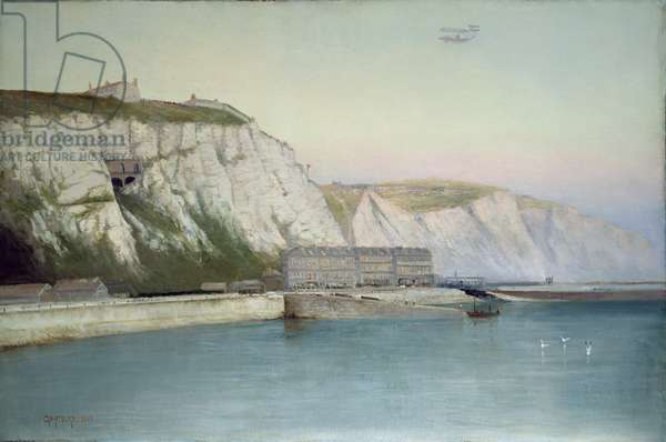 The first non-stop double crossing of the English Channel by plane, 2nd June 1910 (oil on board)