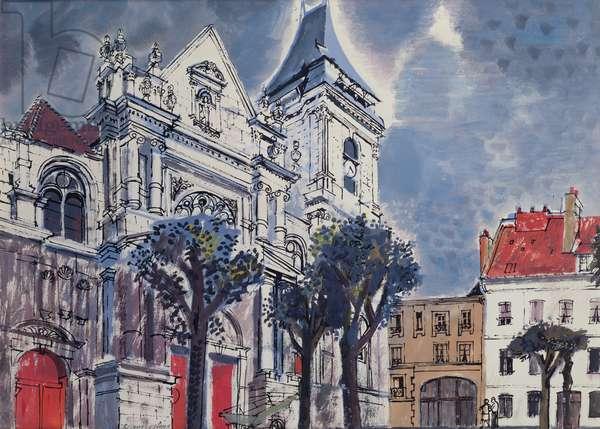 St. Jacques, Dieppe (gouache on paper)