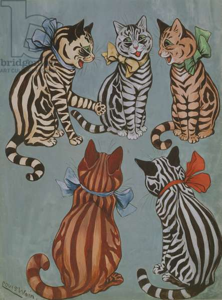 Striped Cats, c.1916 (gouache on paper)