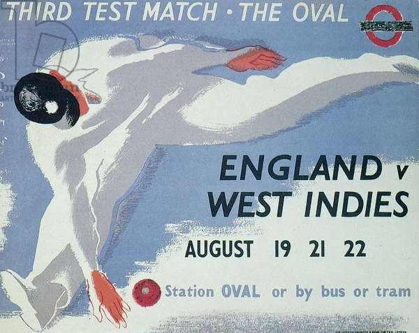 Poster advertising the Third Test Match at the Oval, England v. West Indies (colour litho)