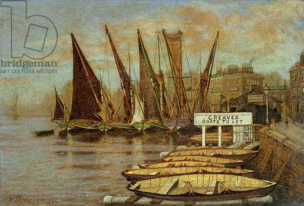 Greaves Boat Yard, Chelsea, 1858 (oil on canvas)