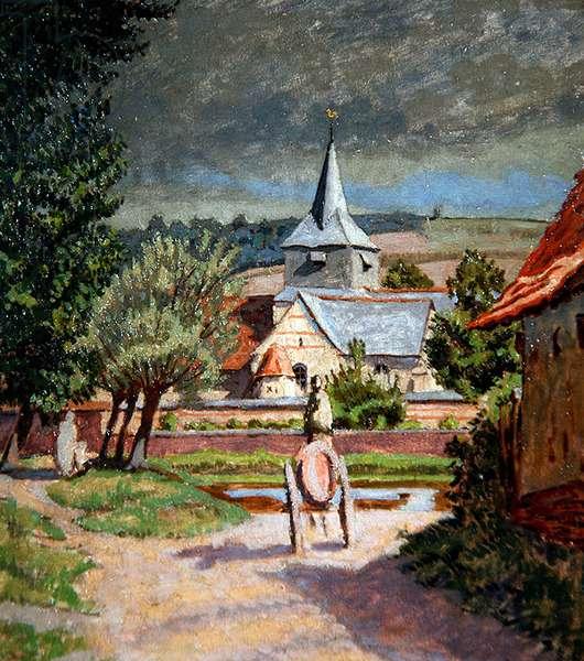 Church at Sauchay, near Envermou (oil on board)