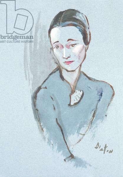 Wallis Simpson (gouache on blue paper)