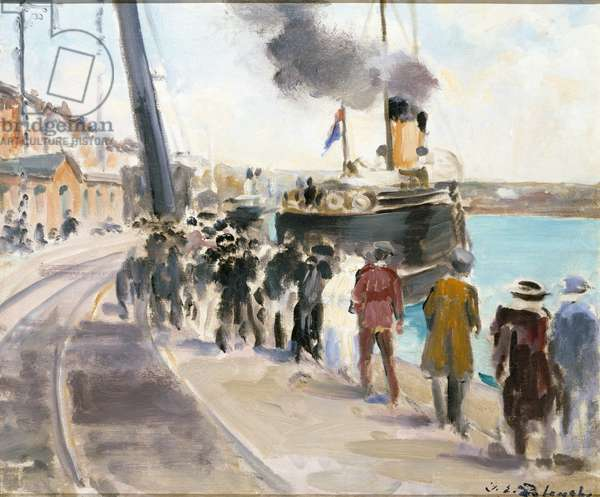 Dieppe, Arrival of the Boat from Newhaven (oil on canvas)