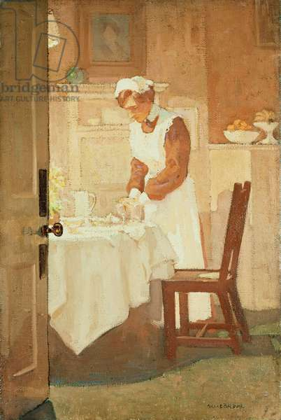 Setting the Evening Table, c.1912 (oil on board)