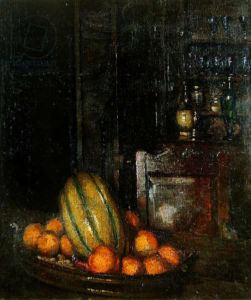 Still Life with Watermelon (oil on canvas)
