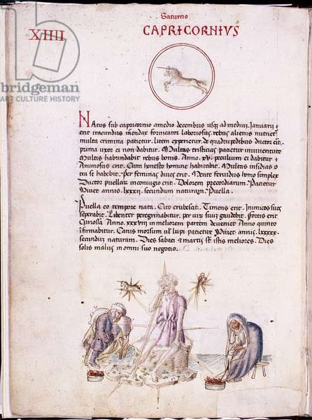 Astrology: representation of the sign of the capricorn. Page of the manuscript Physiognomia (Liber physiognomiae) (ms. 697) by Michael Scotus (or Scot) (1170-1236). Biblioteca estense, Modene, Italy.
