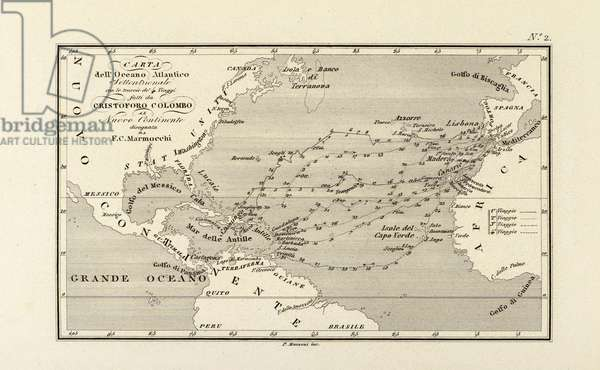 Geography: map representing the Americas with traces of navigator Christopher Columbus's travels to the New World. Plate taken from an atlas by Francesco Costantino Marmocchi (1805-1858), 19th century. Biblioteca Angelica, Rome