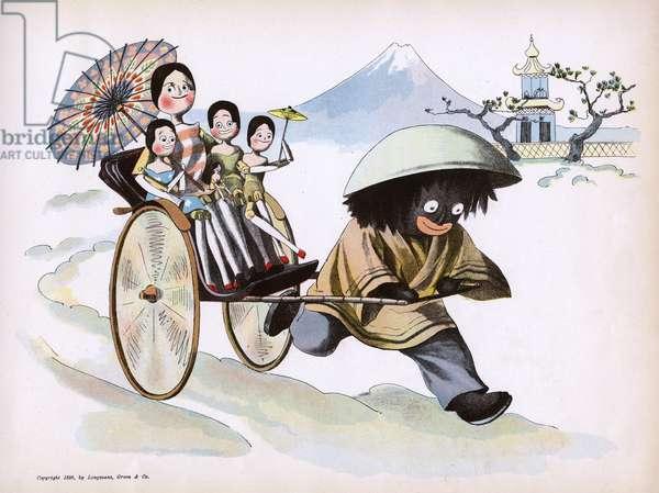 The Golliwogg's Bicycle Club - Golliwogg pulls the rickshaw