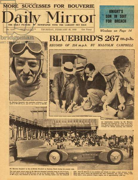 Sir Malcolm Campbell, speed record in Bluebird