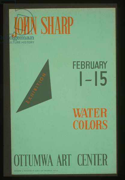 John Sharp - exhibition, February 1-15, water colors, Ottumw