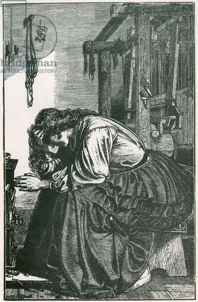 Victorian girl waiting by a loom/Frederick Sandys