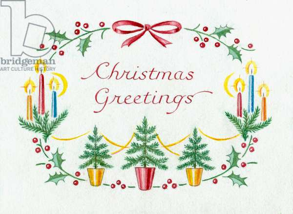 Christmas Greetings with trees and candles