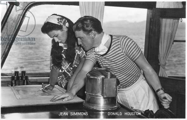 Jean Simmons and Donald Houston on location