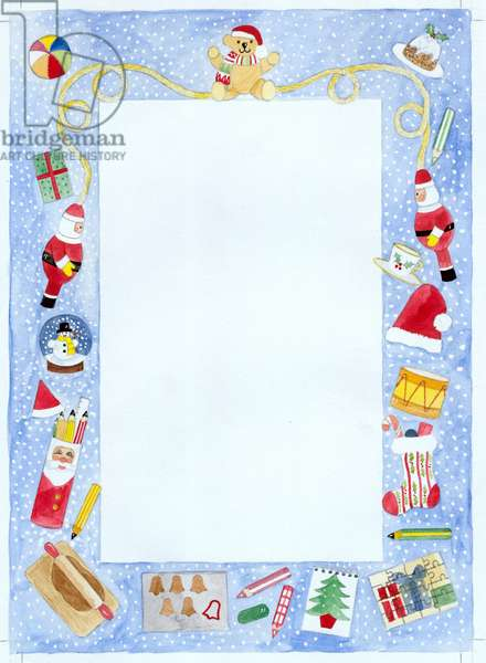 Childrens Christmas Stationery Border - with teddy bear, Fat
